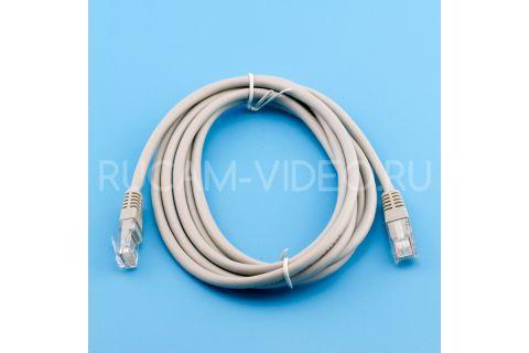 Коммутационный шнур, Патч-корд UTP cat 5e, rj45-rj45 серого цвета, 0,5 м