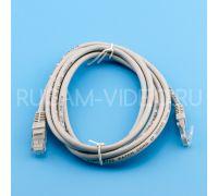 Патч-корд UTP cat 5e, литой (molded), rj45-rj45 серый, 2 м