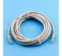 Патч-корд UTP cat 5e, литой (molded), rj45-rj45 серый, 3 м