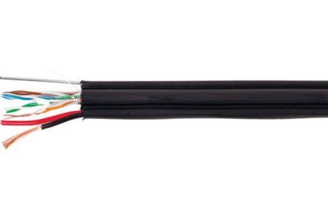 UTP 5E 4x2x0.5 + 2x0.75 с тросом - Неэкранированная витая пара с доп.питанием, 4pr черного цвета, бухта, 200м, категории 5e, производитель ELETEC
