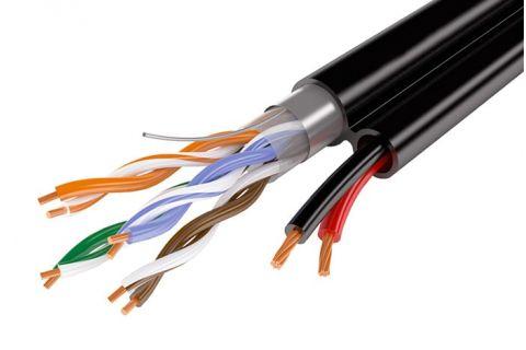 UTP 5E 4x2x0.5 + 2x1.5 - Неэкранированная витая пара с доп.питанием, черного цвета, бухта, 200м, категории 5e, производитель ELETEC