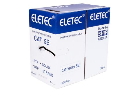 UTP 5E Eletec 4x2xAWG24 - Неэкранированная витая пара , черного цвета, бухта, 305м, категории 5e, производитель ELETEC