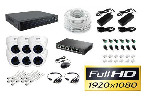 Готовый комплект видеонаблюдения Office IP-6 на 6 купольных камеры [2Mp]
