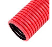 Труба гофрированная двустенная ПНД д. 63 мм для кабеля и электропроводки (красная)