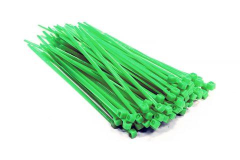 Стяжки кабельные пластиковые, нейлоновые 140х3,6 UV, упаковка 100шт, зеленые (цветные), стойкие к УФ, уличные