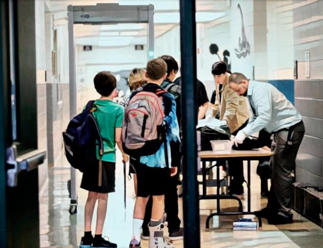Проходной пункт охраны в школе.
