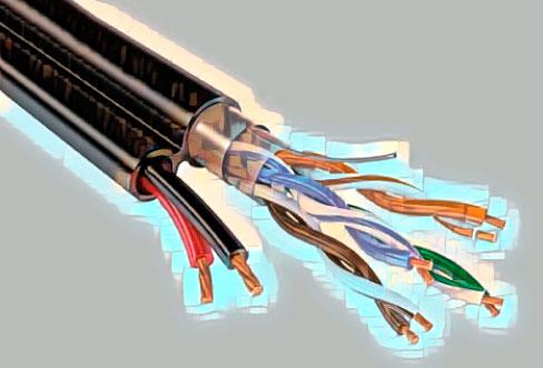 Комбинированная витая пара для передачи питания и сигнала до камеры видеонаблюдения.